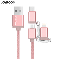 Joyroom 1m Nylon braided+TPE material 3 in 1 cable usb data charging for iPhone/Android mobile phones