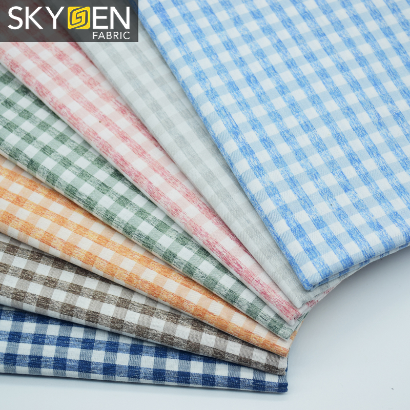 New fashion Yarn Dyed Checked Casual Shirting Fabric 100% Cotton