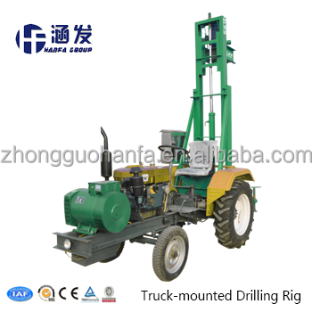 Strongly recommend ! HF100T Top driving tractor mounted small water well drilling rig / drilling machine