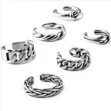 패션 Men Women Sterling Silver 적재 할 수 Adjustable Vintage 링