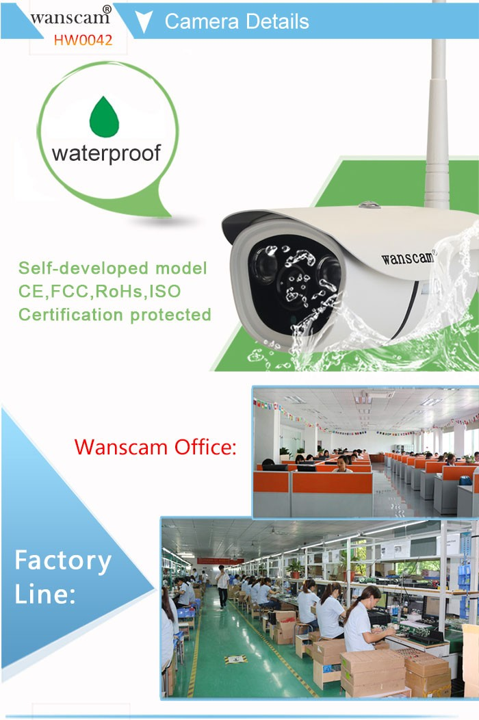 Wanscam HW0042 HD 960P Wireless WIFI IP Camera Outdoor Security Waterproof Night Vision POE Build in 16G Micro SD Card IP Camera