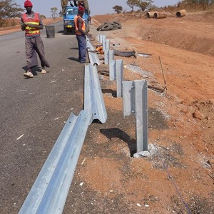 w beam highway guardrail and post