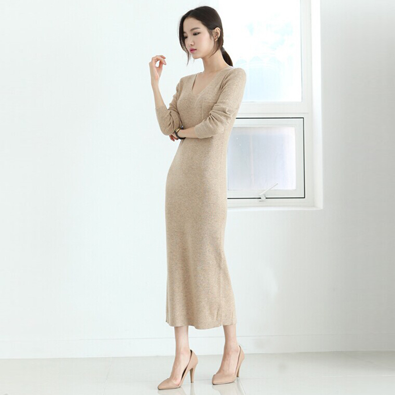 44454cd5409 Get Quotations · Spring autumn woman elegant V-neck maxi sweater dress  ankle length knitted dress winter basic