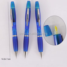 2 in 1 highlighter+ plastic ball pen,ball pen with highlighter top