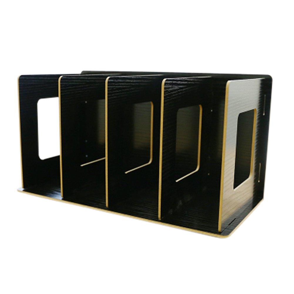 Trycooling 4 Slots Freestanding DIY Desktop Organizer Rack Wood Board Shelf & Office Supply Holder for CDs/Pens/Books/Cosmetics (Black)