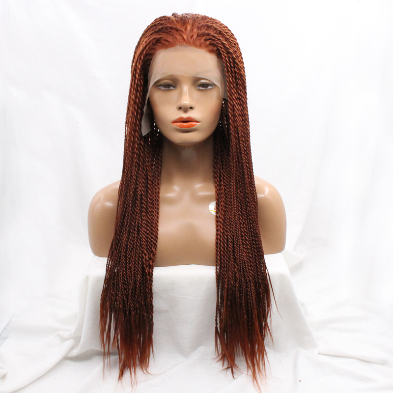 Heat Resistant Synthetic Hair 20inch Long Micro Braided Lace Front Wigs Glueless For African Americans Women