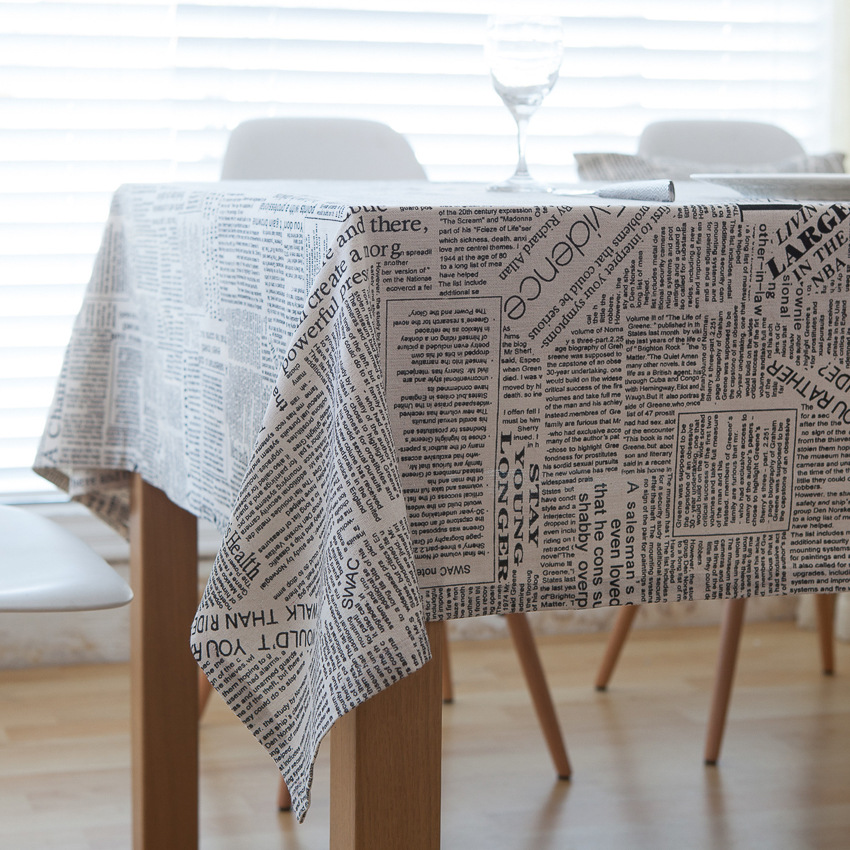 1 pc Creative <font><b>Italian</b></font> Alphabet Tablecloth Fashion Linen Rectangular Table Cloths Grid Dustproof Table Skirt <font><b>Home</b></font> <font><b>Decor</b></font>