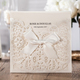 WISHMADE Embossed Laser Cut Flower Shape Wedding Invitations Card Holder Engagement Invitation Wedding Card CW6112