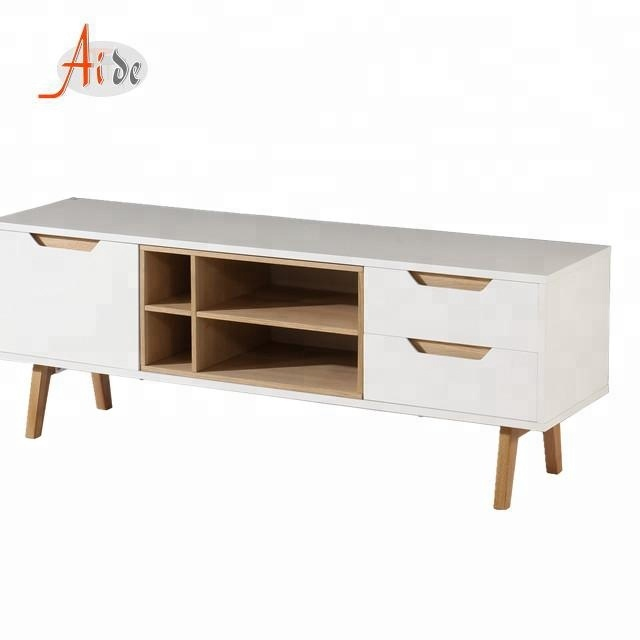 White tv stand furniture wooden modern tv cabinet for living room
