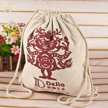 recycled natural organic promotion gift backpack 100% canvas cotton  drawstring bag a0571a1a0ed8