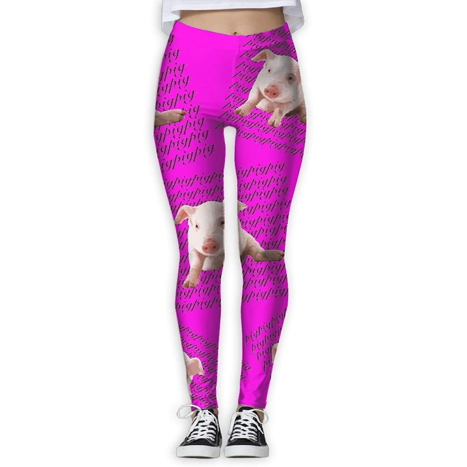 fc413a86c6892 Get Quotations · Pig Women High Waist Printed Yoga Pants Workout Running Yoga  Pants Sweatpants