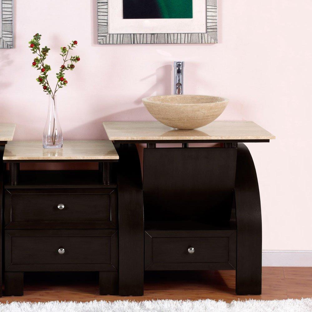 Silkroad Exclusive Countertop Travertine Modern Sink Bowl Vessel Bathroom  Vanity With Cabinet, 49 Inch