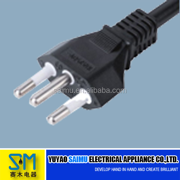 Brazil UC 3 pin power cord cable for TV