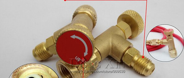 Wholesale-New Arrived HS-1221 R410A Refrigeration Charging Adapter,Air  conditioning charging valve red one