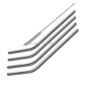 Lowest Price 3 Pcs Stainless Straws With 1 Cleaner Brush Metal Drinking Straw Stainless Steel Bend Kitchen Bar Accessories