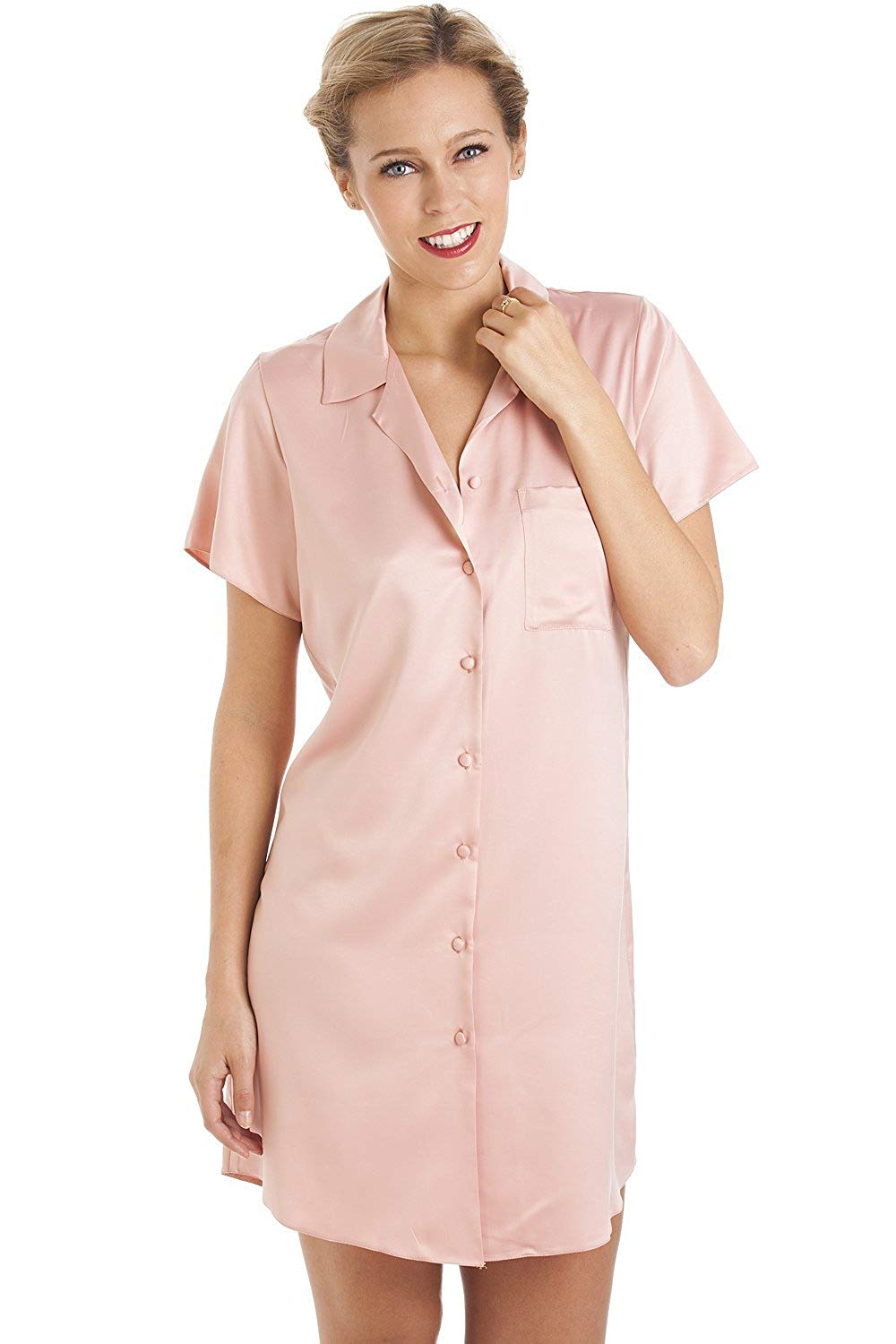 a4153e267f Get Quotations · Camille Womens Luxurious Knee Length Pink Satin Nightshirt