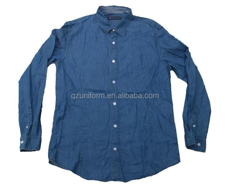Mens stone washed ls 100 cotton denim work shirt buy for 100 cotton work shirts