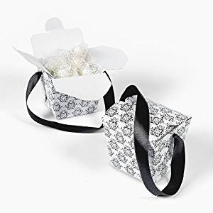 Black & White Takeout Boxes - Party Favor & Goody Bags & Paper Goody Bags & Boxes