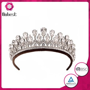 Wholesale party accessory crystal full round crown tiara bride crown tiaras princess tiara