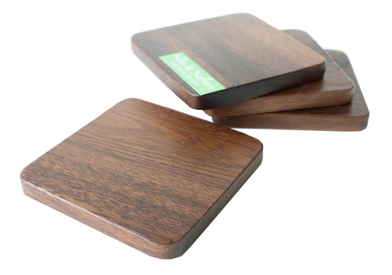 Acacia Wooden Coaster, Acacia Set of 4, Acacia Square Shape, Wooden Coasters for Drinks, Coaster Leather Tie, Acacia Wood Kitchenware, Acacia Juice Plate