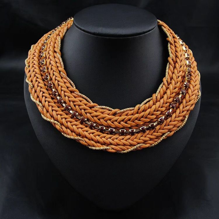 Gold Mangalsutra Designs Image Handmade Braided Wide Design African Wedding Necklace
