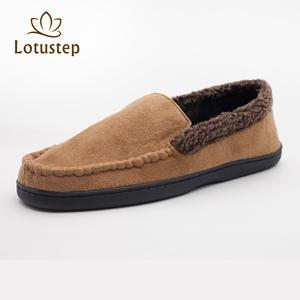 new coming men moccasin indoor slipper with synthetic lam skin