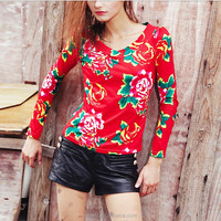 European ethnic retro printed long sleeve female personality hollow out blouse t-shirt softextile for women clothing