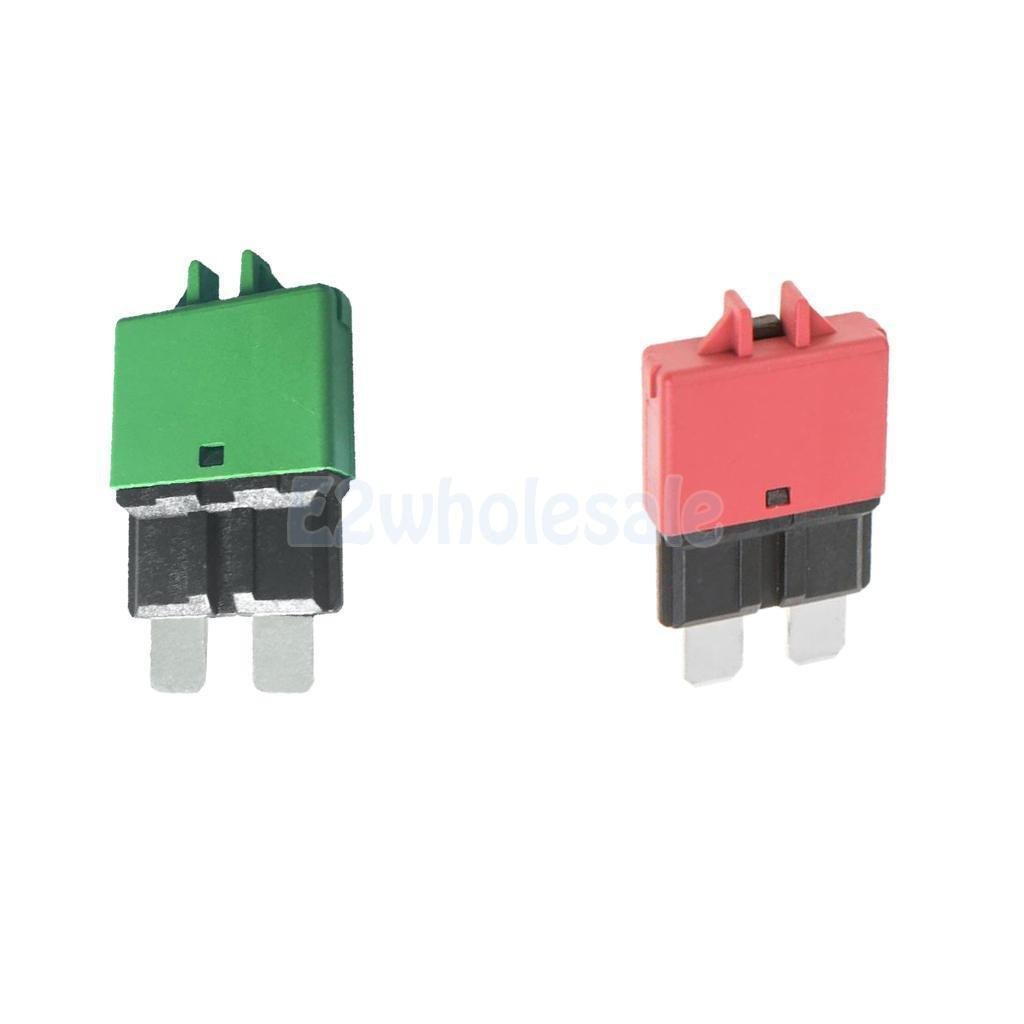 2pcs Automatic Resettable Fuse Auto Marine Circuit Breaker Blade 10A 30A 12V