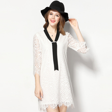 SN3503 2017 spring lace 3/4 sleeve v neck white ladies dress