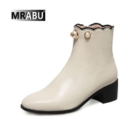 pearl beading low heel side zipper leather shoes women boots