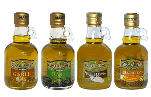 Mantova Flavored Extra Virgin Olive Oil Variety Pack: Bruschetta, Truffle, Garlic, Basil Authentic Italian EVOO, 8.5-Ounce Per Bottle (Pack of 4) Great Gift Item