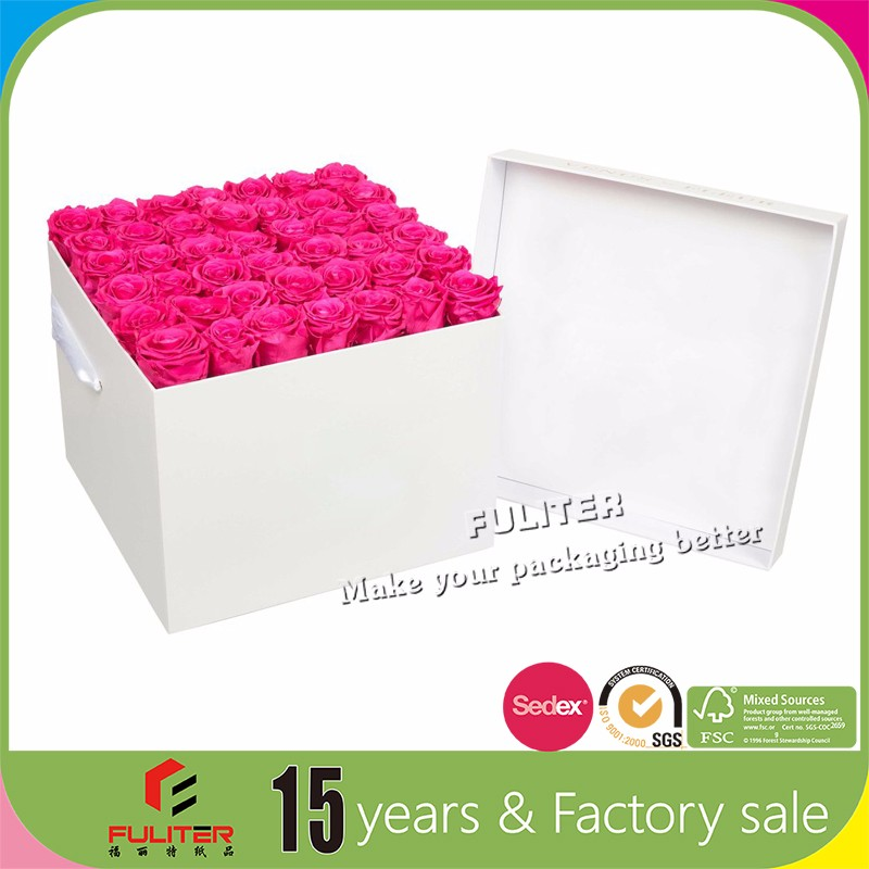 Custom Matt surface flower box square with lid and handle