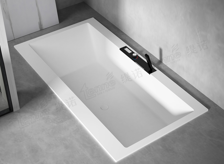 Pure white rectangular drop-in solid surface bathtub 74inch