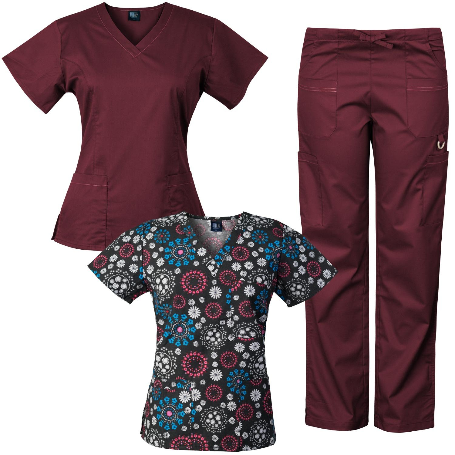 7098f4110f8 Medgear 3-Piece Eversoft Stretch Scrubs Set with Printed Top Combo 7895ST