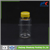 Clear PET 150ml plastic medicine bottle with colorful plastic cap, 150cc Pharmaceutical pill container