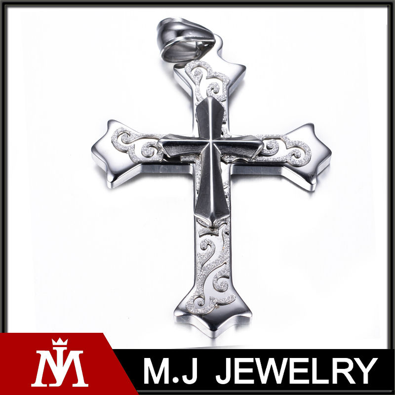 MJ Jewelry pendant design 316L stainless steel cross pendant wood MJ-P01189