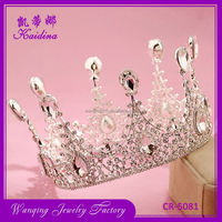Factory supply OEM design rhinestone decorative metallic bridal tiaras