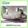 DS-630# modern latest unique simple style white PU leather queen bed frame designs