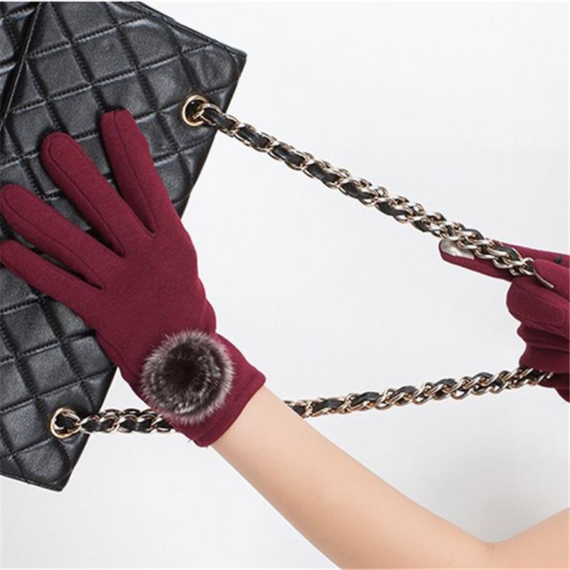 Осень и зима мех кролика кашемир luvas толстые перчатки Guantes полный - палец теплые варежки перчатки для женщин