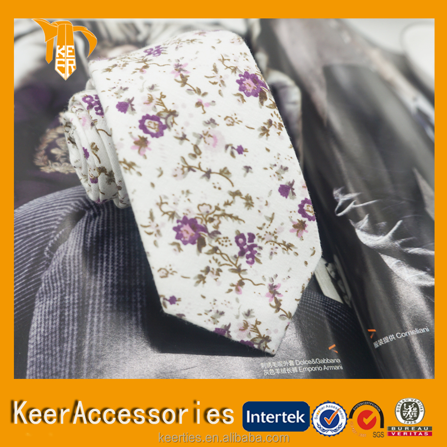 artwork Cotton Floral printed ties for lady