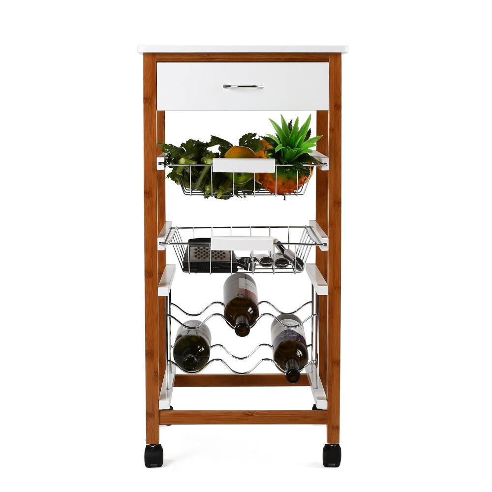 bamboo wooden stainless steel kitchen trolley