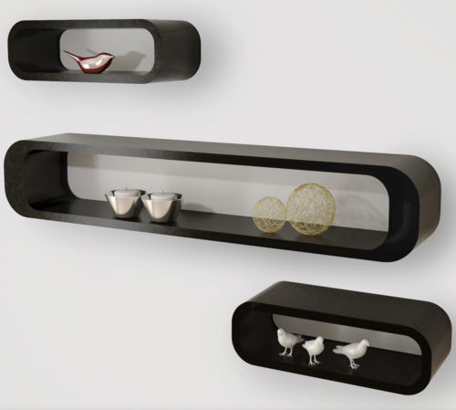 Oval shape decorative and storaging wall shelf