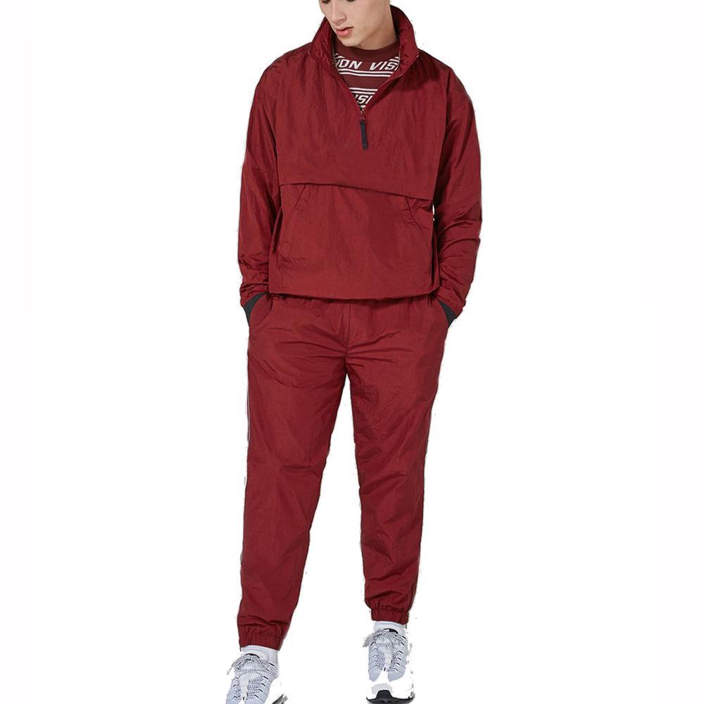 Custom made burgundy nylon tracksuit unisex OEM nylon track suit, Multiple;can be customized
