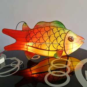 customized folk art outdoor waterproof led lighting iron wire fish decoration