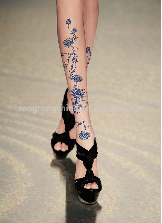 Kitten Imprimir Rodilla Longitud Calcetines Dibujos Animados Tatuaje