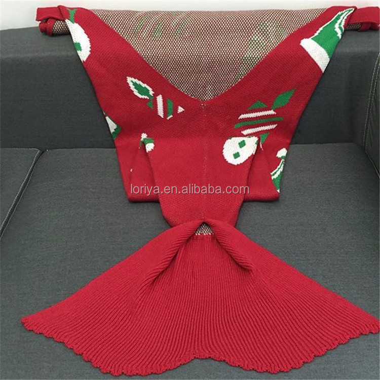 Adult Kids Christmas Blanket beautiful Knitted mermaid shape blanket knit throw blanket