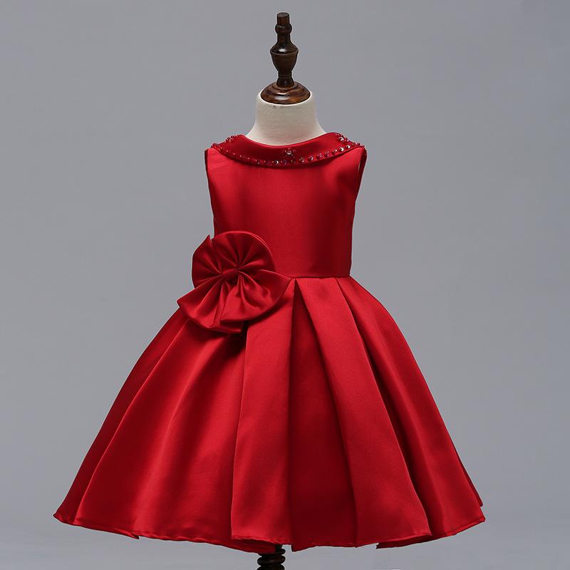 cedc27cd9969b Yeni Model Çocuk Kapalı tek omuzlu elbise Düz Renk Şifon Kabarık düğün  kıyafeti