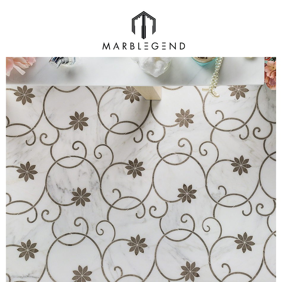 Flower patter design natural Chinese stone water jet marble mosaico