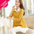 2016 new maternity clothing spring and autumn sweater one piece dress loose plus size twinset spring