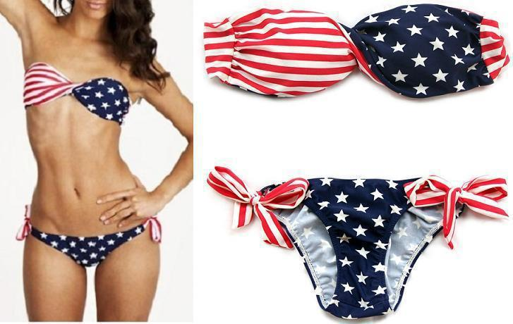 dcafe7b1f739f Get Quotations · Stars and Stripes USA Padded Twisted Bandeau Tube Bikini  American Flag Swimwear